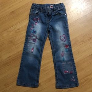Jeans! Girls size 5 wide leg adorable detail